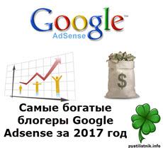 Самые богатые блогеры Google Adsense за 2017 год