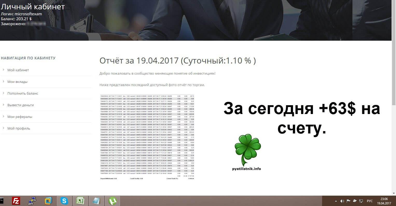 За 12.04.2017 +1,2% и +66$ на счету